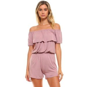 Off Shoulder Ruffled Overlay Lilac Jersey Romper